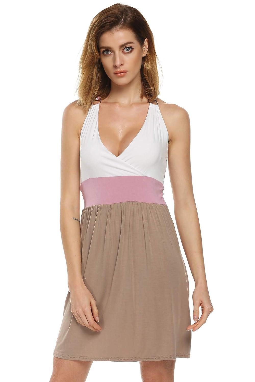 Acevog damen strandkleid v ausschnitt stretch neckholderkleid mit colour blocking sommerkleid gr - Sommerkleid v ausschnitt ...