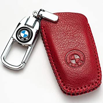 Full Protection Soft Leather Key Fob Case Compatible with BMW 1 3 4 5 6 7 Series and X3 X4 M5 M6 GT3 GT5 Keyless Remote Control Smart Key Fob Hey Kaulor for BMW Key Fob Cover Red