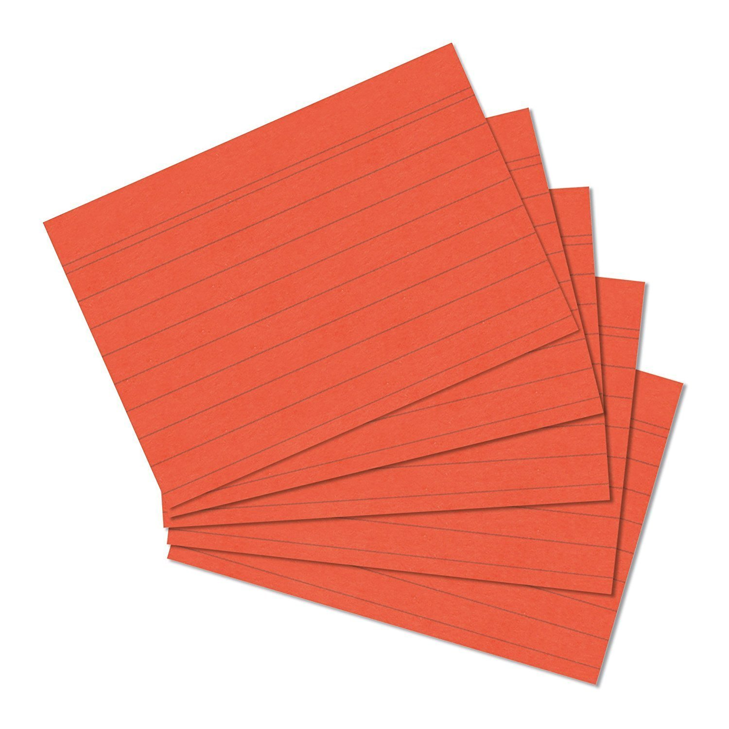 127mm x 76mm Orange Record Cards 5mm Lined Narrow Lines Pack of 100 pieces printed on both sides = 200 pages - by PARTY DECOR