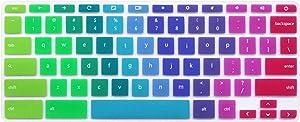 Silicone Keyboard Skin for HP Chromebook 14-ak 14-ca Series, HP Chromebook 14 G2 G3 G4 Series, HP Chromebook x360 11-ae020nr 11-ae040nr 11.6 inch (NOT Fit HP Chromebook 11 G5 EE) Rainbow