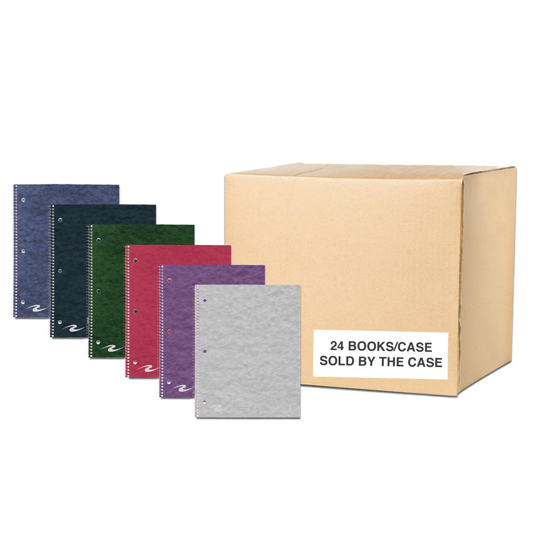 Case of 24 Stasher One Subject Notebooks, 11''x9'', 100 sheets 15# White Paper, 15 pt Assorted covers, wirebound, Narrow Ruled W/Margin, Perforated