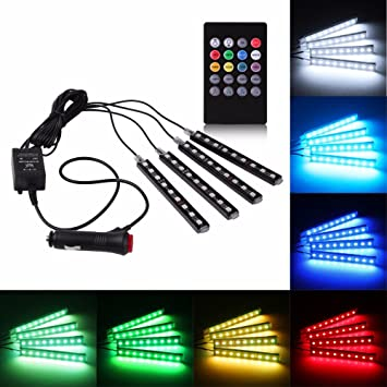 SODIAL 4x DC12V 9 LED RGB Car Interior Atmosphere Footwell Strip Light USB Charger