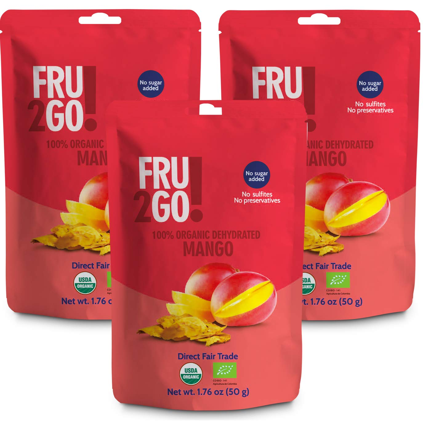 Fru2Go Organic, Dehydrated Mango Slices - 1.76 oz (Pack of 3) - No Sugar Added - All-Natural Mangoes - Raw - Unsulfured - Direct Fair Trade Fruit - from Colombia