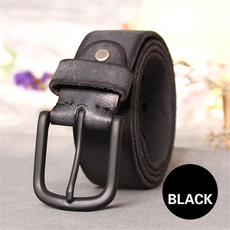 Top Cow Genuine Leather Belts for men jeans Do old rusty black buckle retro vintage mens male Cowboy Belt homme