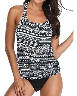 S-3XL Diukia Womens Push up Padded Pattern Printed Tankini Two Piece Swimsuits Bathing Suit Swimwear