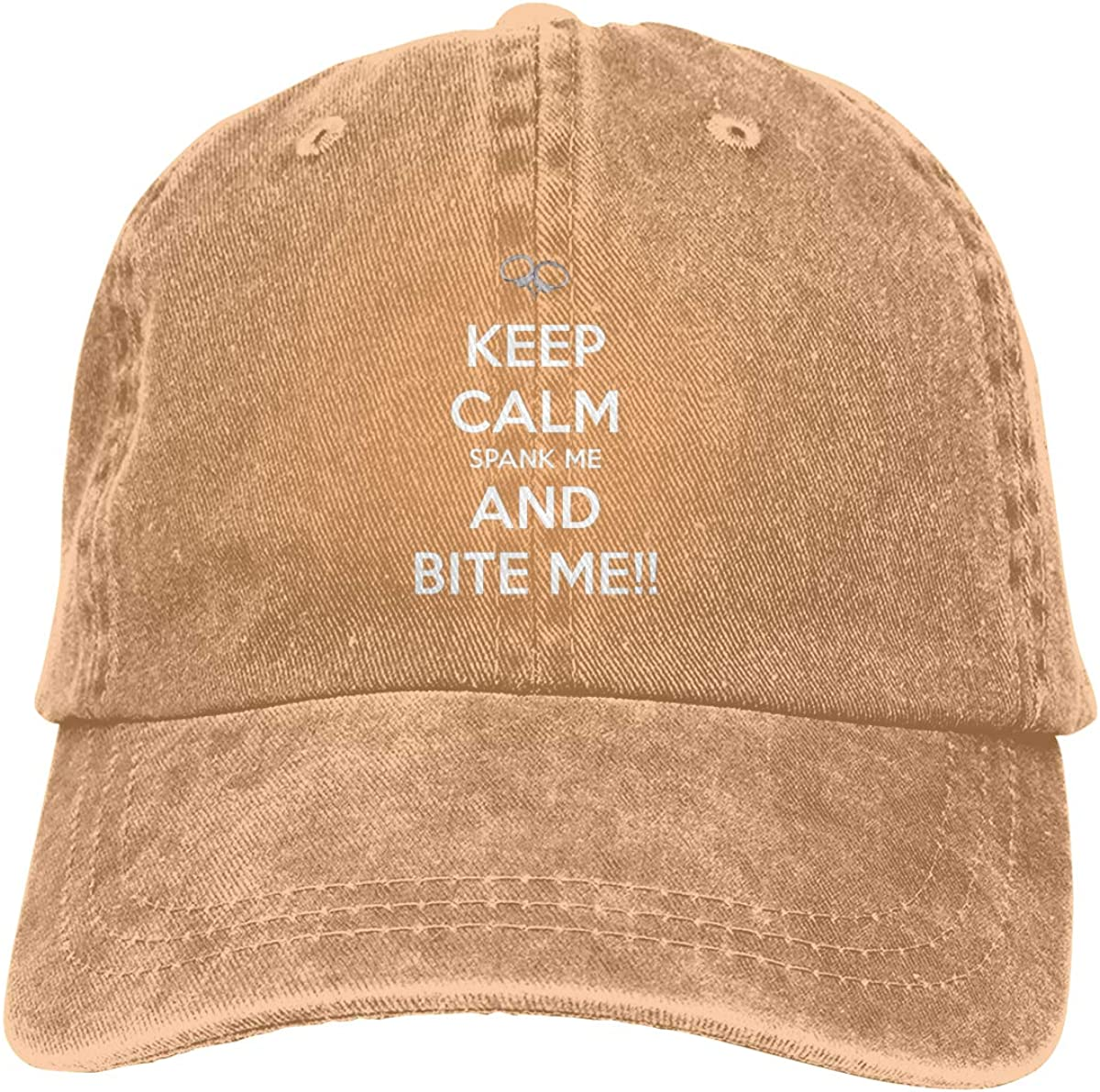 Keep Calm Spank Me and Bite Me Vintage Washed Dyed Cotton Twill Low Profile Adjustable Baseball Denim Cap