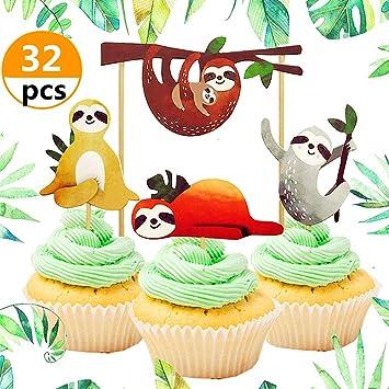 Amazon.com: 32 piezas de adornos para cupcakes de JeVenis ...