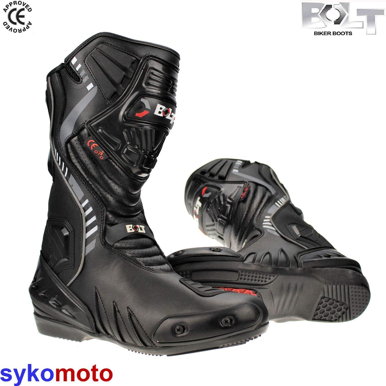 Bolt New Model S14 Cool Waterproof Sports Racing Touring Protective Adult Men Boots Black 10 UK//44 EU