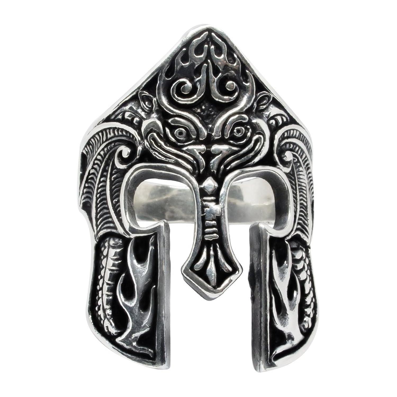 925 Sterling Silver Spartan Helmet Warrior 300 King Leonidas of Sparta Oxidized Rare Ring
