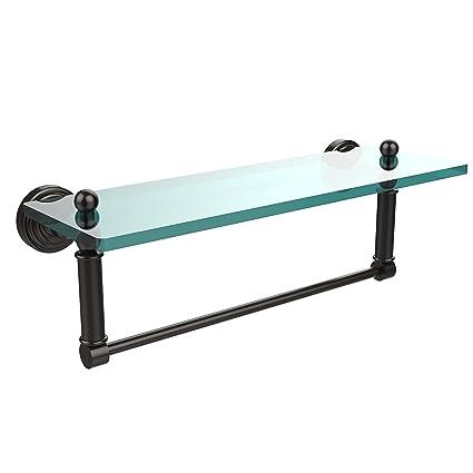 Allied Brass WP-1TB/16-ORB Glass Shelf with Towel Bar, 16-Inch x 5 ...