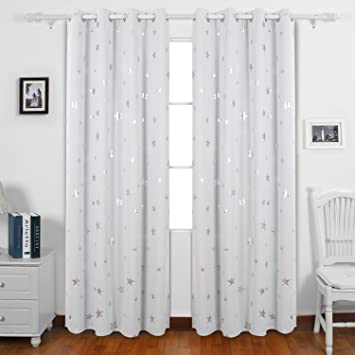 Deconovo Stars Foil Printed Thermal Insulated Ready Made Curtains ...