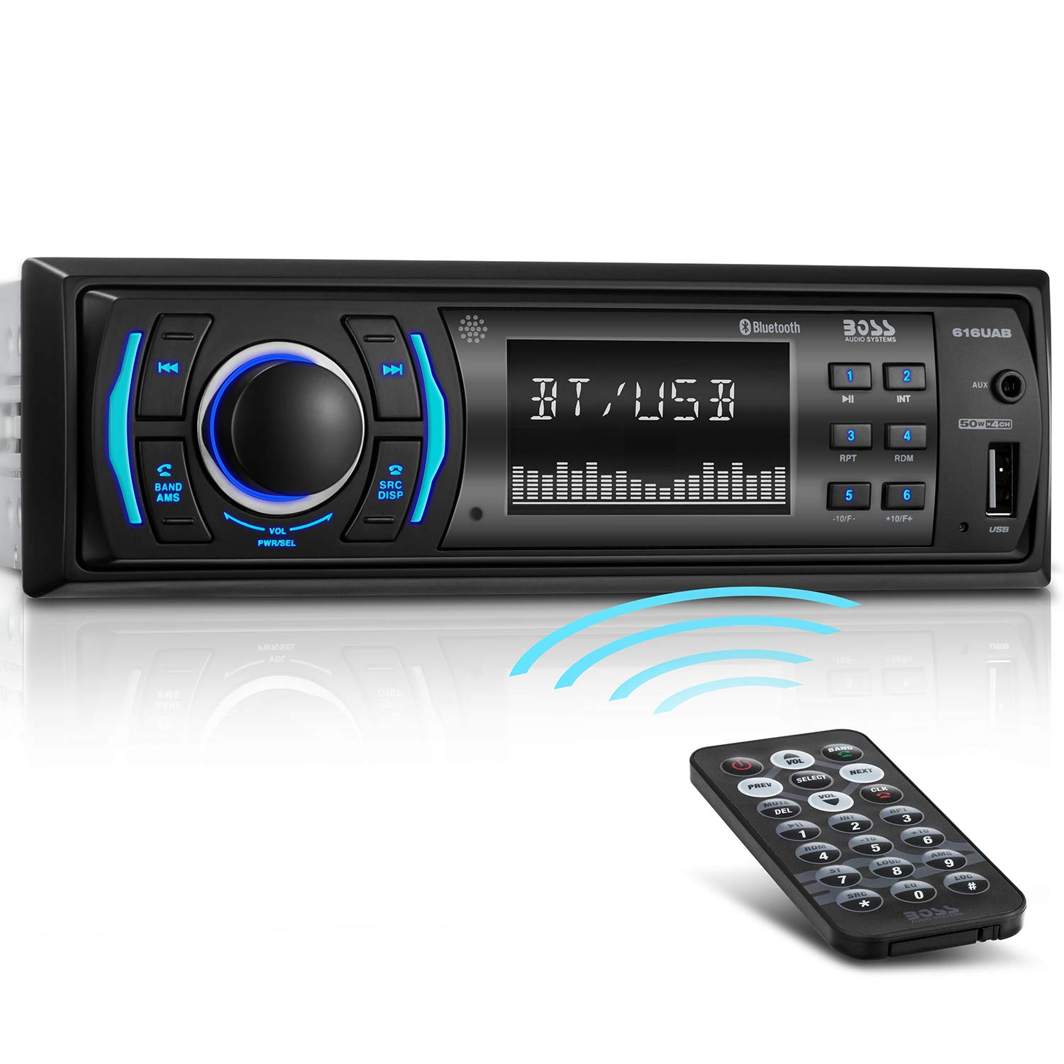 BOSS Audio Systems 616UAB Multimedia Car Stereo - Single Din LCD, Bluetooth Audio and Hands-Free Calling, Built-in Microphone, MP3/USB, Aux-in, AM/FM Radio Receiver by BOSS Audio Systems
