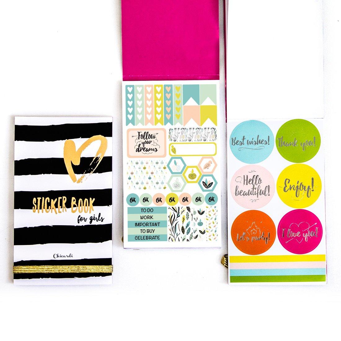 Chicardi Mensile Settimanale Quotidiano Planner Stickers Adesivi Notebook Scrapbooking Happy Colorati Sticker Book per Donne Bambini Studenti 2017 2018 Stickerbook