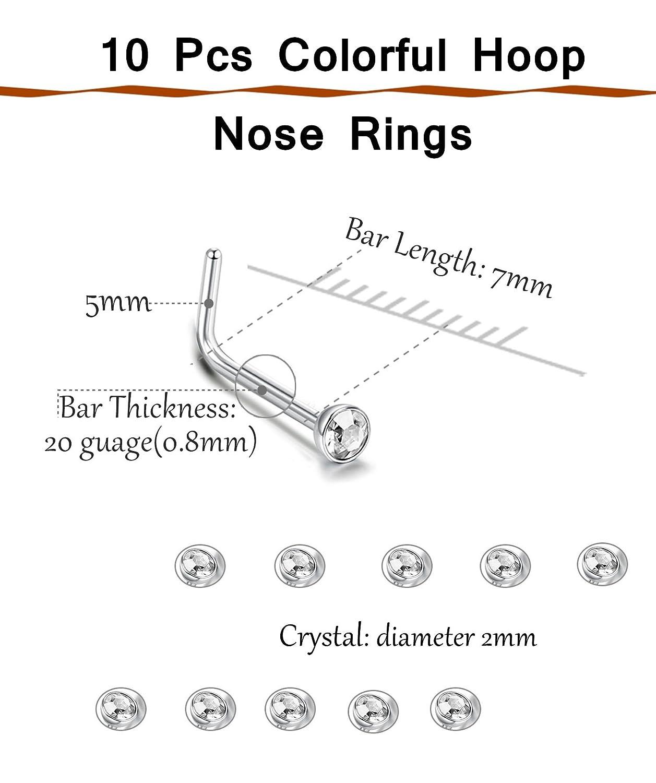 Thunaraz 20 30pcs Surgical Steel L Shaped Hoop Fake Nose Ring Stud