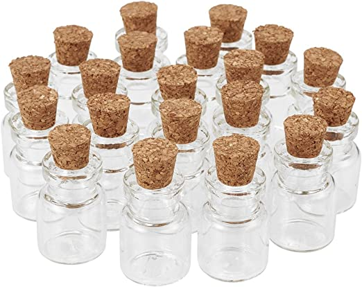 20 Pcs Clear Glass Jar Wishing Bottles Vials with Cork Bead Containers 22x15mm