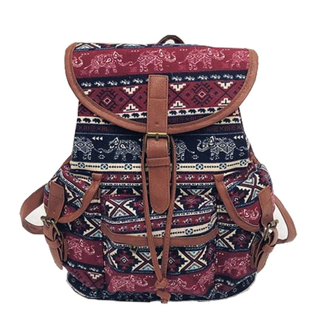 YJYDADA Women Vintage Canvas Bag National Wind Backpack Travel Bag School Bag (B)