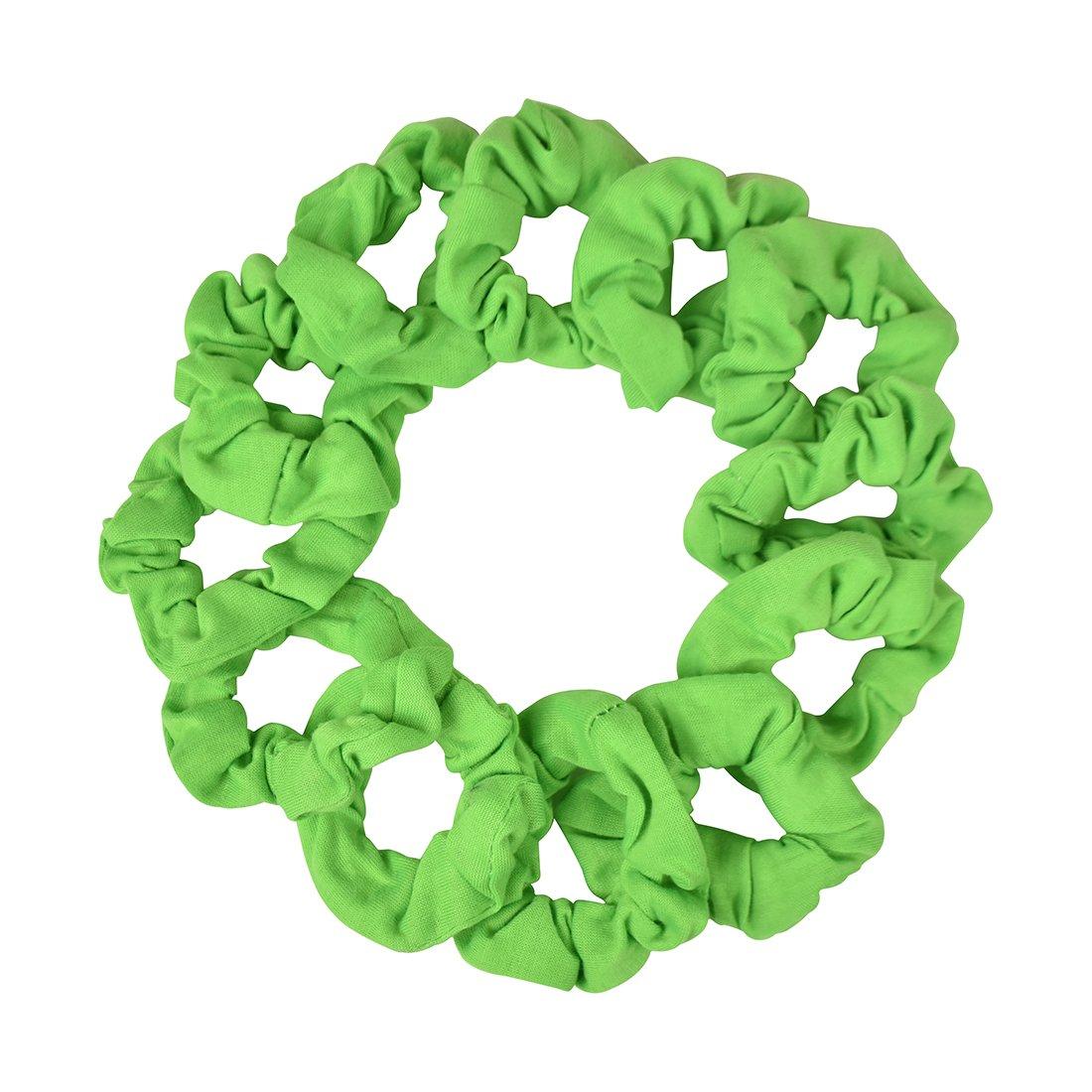 12 Pack Small Scrunchies Cotton Hair Scrunchy - White Motique Accessories 12PH0046WT