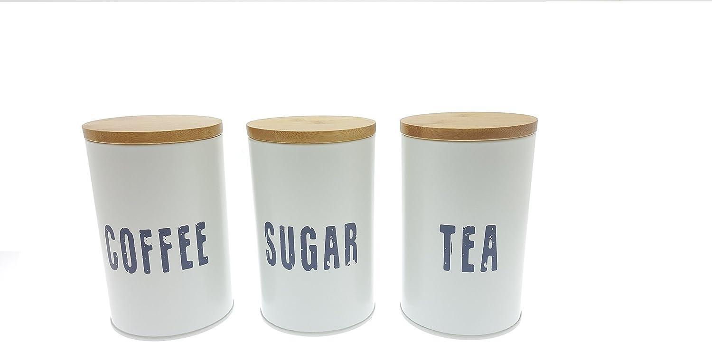 Colore bianco t/è e zucchero Combo con Eco Bamboo coperchi Novel Solutions Soluzioni nuove retro portapane Plus caff/è bianco naturale 33.5/x 21.5/x 12/cm acciaio