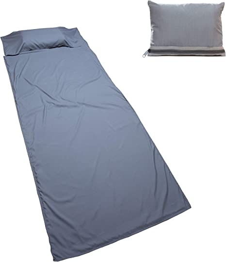 Nomalite Sac à Viande (90 x 220cm) Microfibre et Coton Respirant. Drap (Sac à Viande) Gris, Compact, léger. Taille Unique: idéal à l'hôtel, Camping.