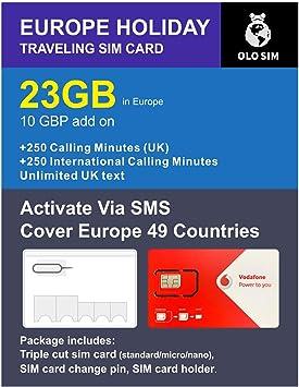 OLOSim Europe - Tarjeta SIM de Viaje con 30 días de prepago de 23 GB de Datos y Minutos de Llamadas internacionales incluidos: Amazon.es: Electrónica