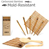 Bamboo Sushi Maker, Carbonized Rolling Mats for Mold-Resistant, Included 2 Rolling Mats - 5 Pairs Chopsticks - Paddle - Spreader, Roll on! Beginner Sushi Making Kit