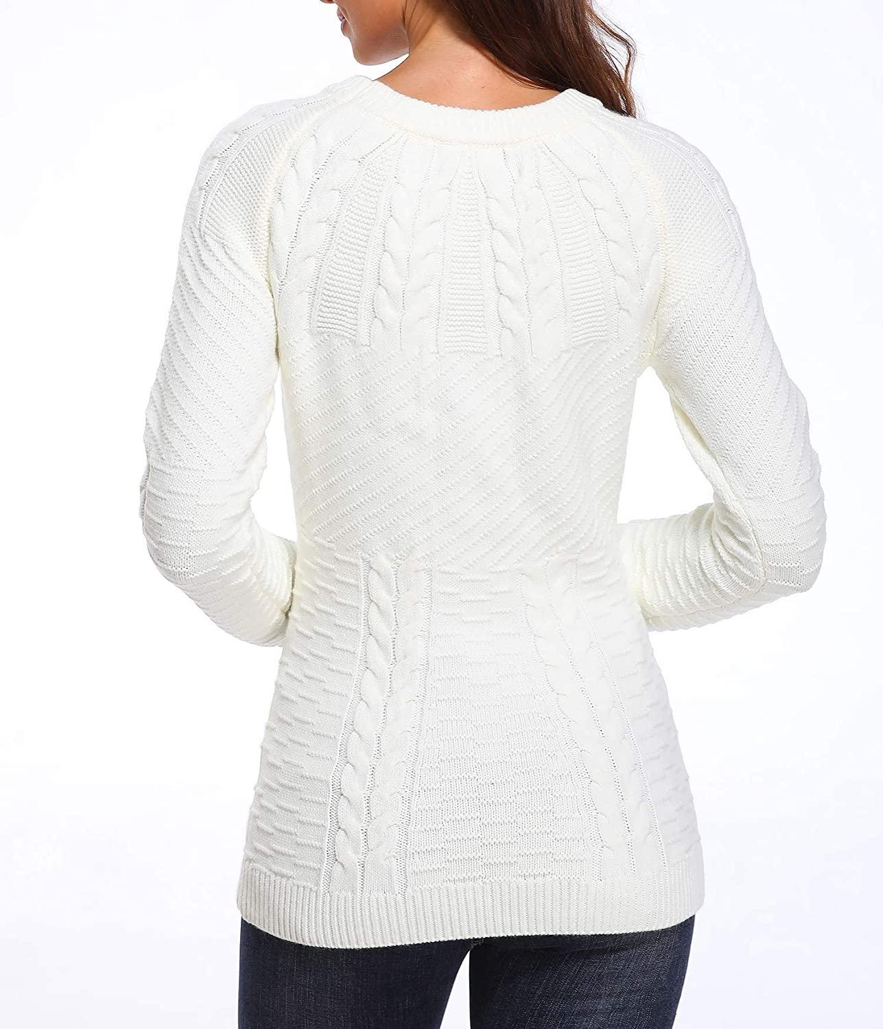 Wudodo Womens Round Neck Long Sleeve Sweater Soft Warm Cable Knitted Jumper Knitwear Top
