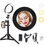 """Volkwell 16CM Selfie LED Ring Light, Dimmable Ringlight with Tripod Stand Wireless Remote Phone Holder for Live Stream/Makeup/YouTube Video/Camera Shooting. (6"""" LED Ring Light)"""