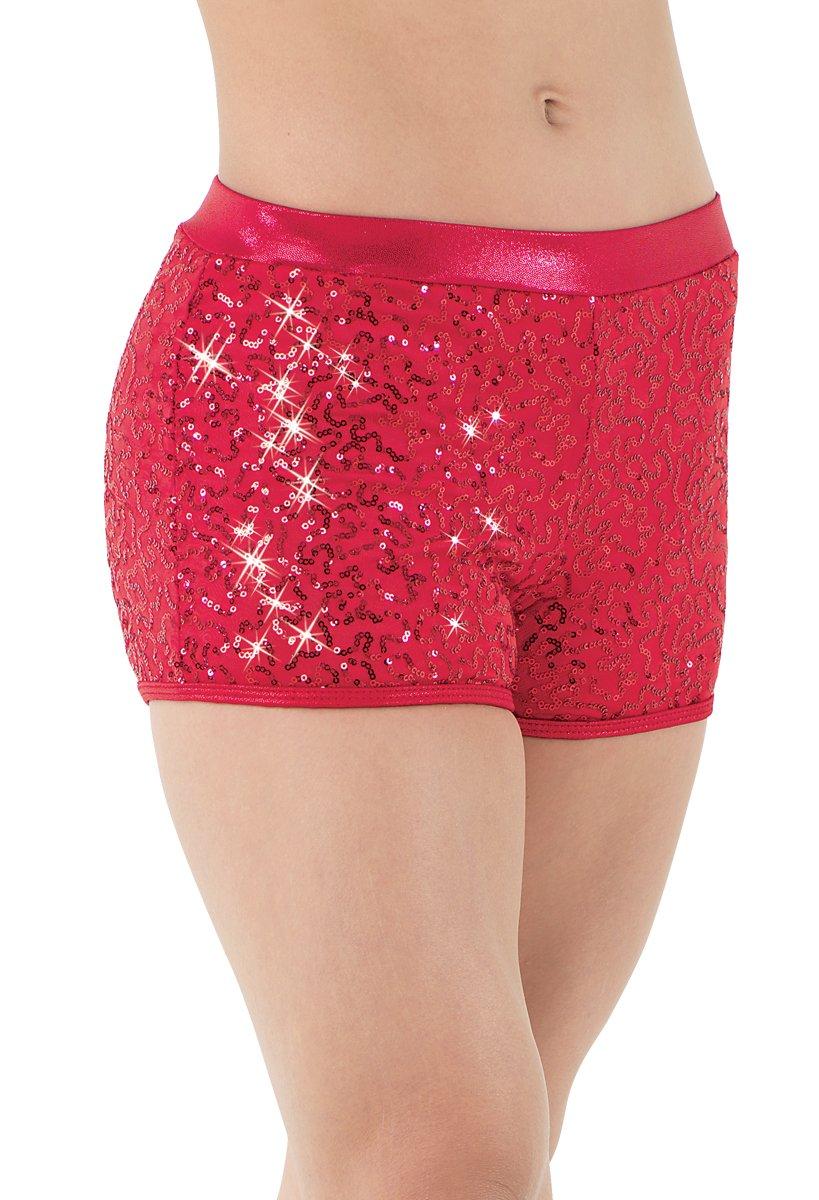 Balera Dance Shorts With Sequins and Metallic Waistband Red Adult Medium by Balera
