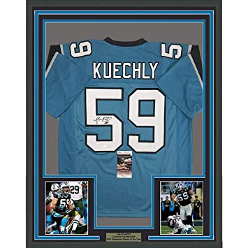 4f2d855ec Image Unavailable. Image not available for. Color  Framed Autographed Signed  Luke Kuechly 33x42 Carolina Blue Football Jersey JSA COA