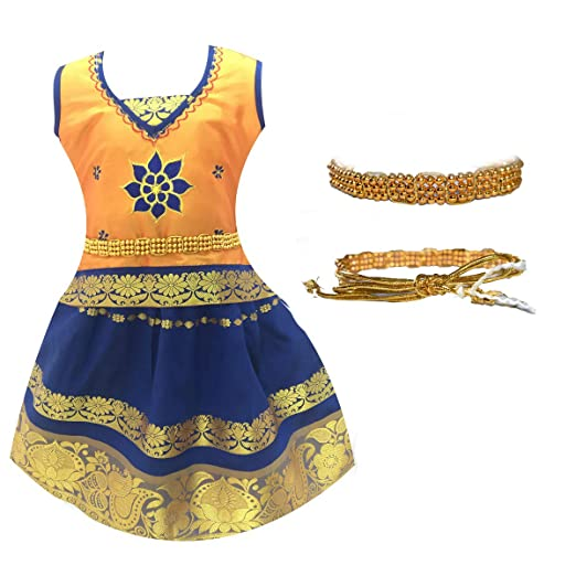 Amirtha Fashion Girl's Silk Cotton Lehanga Choli Girls' Lehenga Cholis at amazon