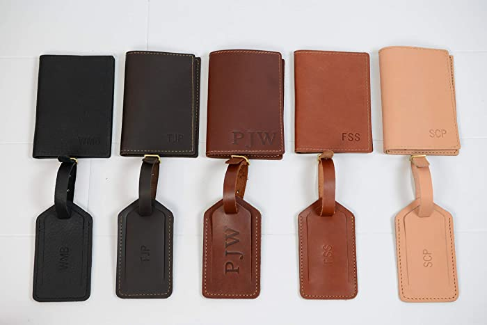 52cad988011 Amazon.com  Personalized Leather Passport Holder + Luggage Tag Gift ...