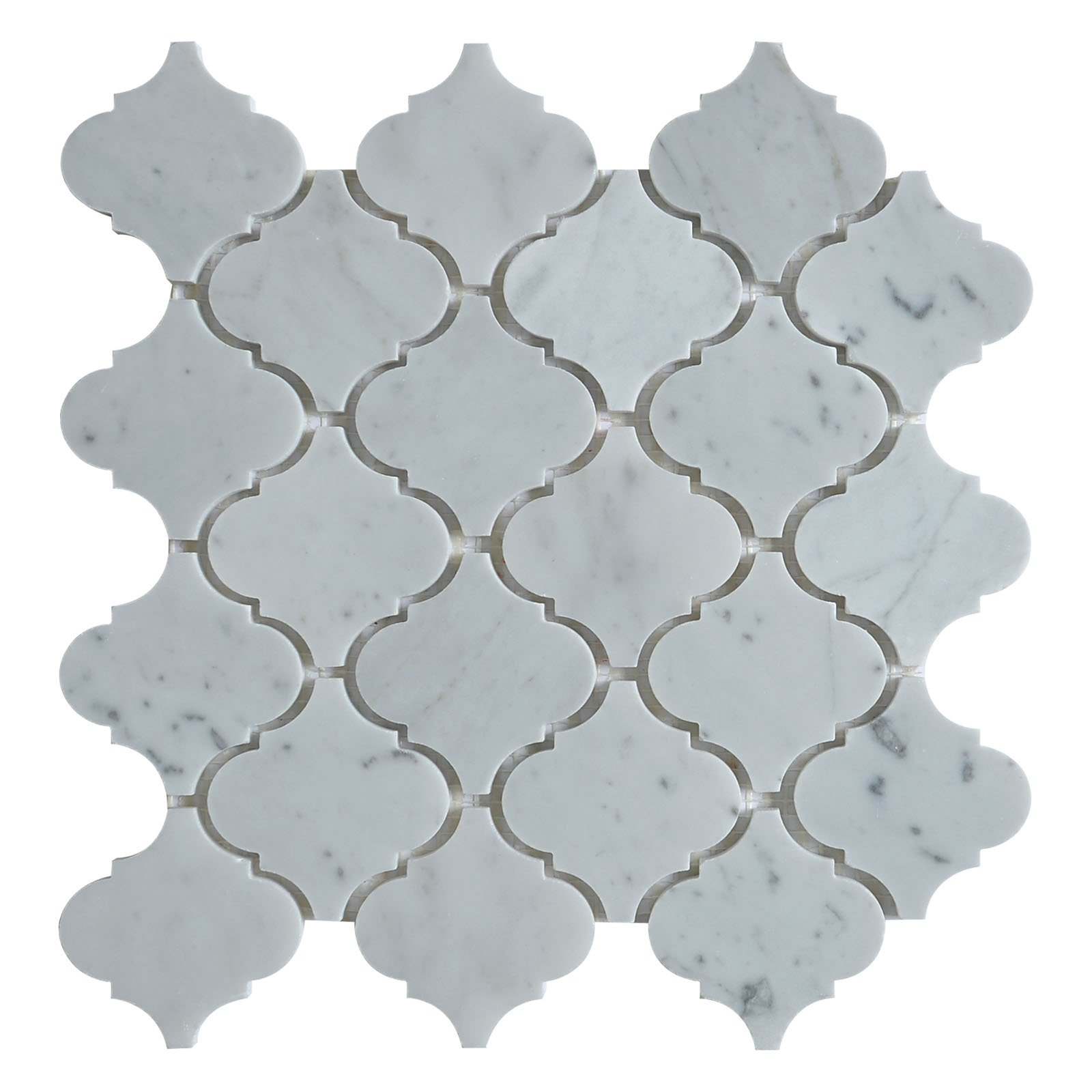 Marble Mosaic Tile, ''Lantern Collection'', MM 9201 - Carrara White, 3''X3'' Arabesque, 12''X10-1/2'', Polished (Lot of 50 Sheets)