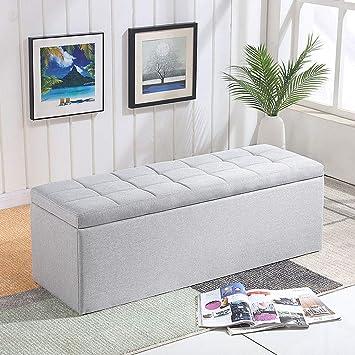 Amazon.com: Footstools Ottoman Storage Chest Upholstered ...