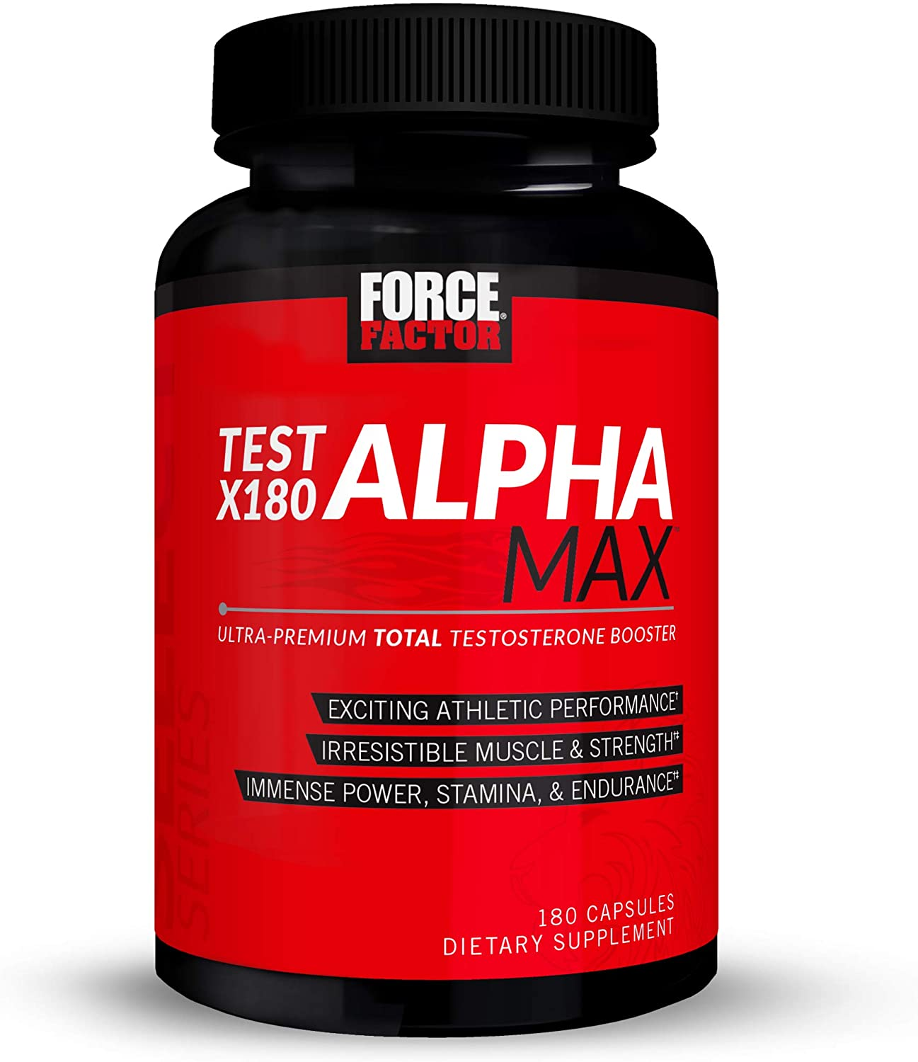 Test X180 Alpha Max, Nitric Oxide Booster, Lean Muscle Builder for Men with Testofen, L-Citrulline, Tribulus Terrestris, and Black Maca, Force Factor, 180 Capsules