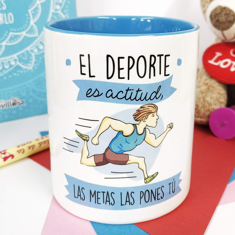 La Mente es Maravillosa - Taza frase y dibujo divertido (El deporte es actitud, las metas las pones tú) Regalo para un Deportista