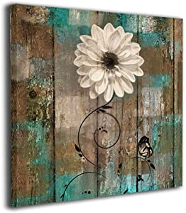 "Amonee 12""x12"" Canvas Wall Art Print Rustic Floral Butterfly White Flower Teal Brown Vintage Framed Canvas Pictures Prints Contemporary Artwork Ready to Hang for Home Decoration Wall Decor"