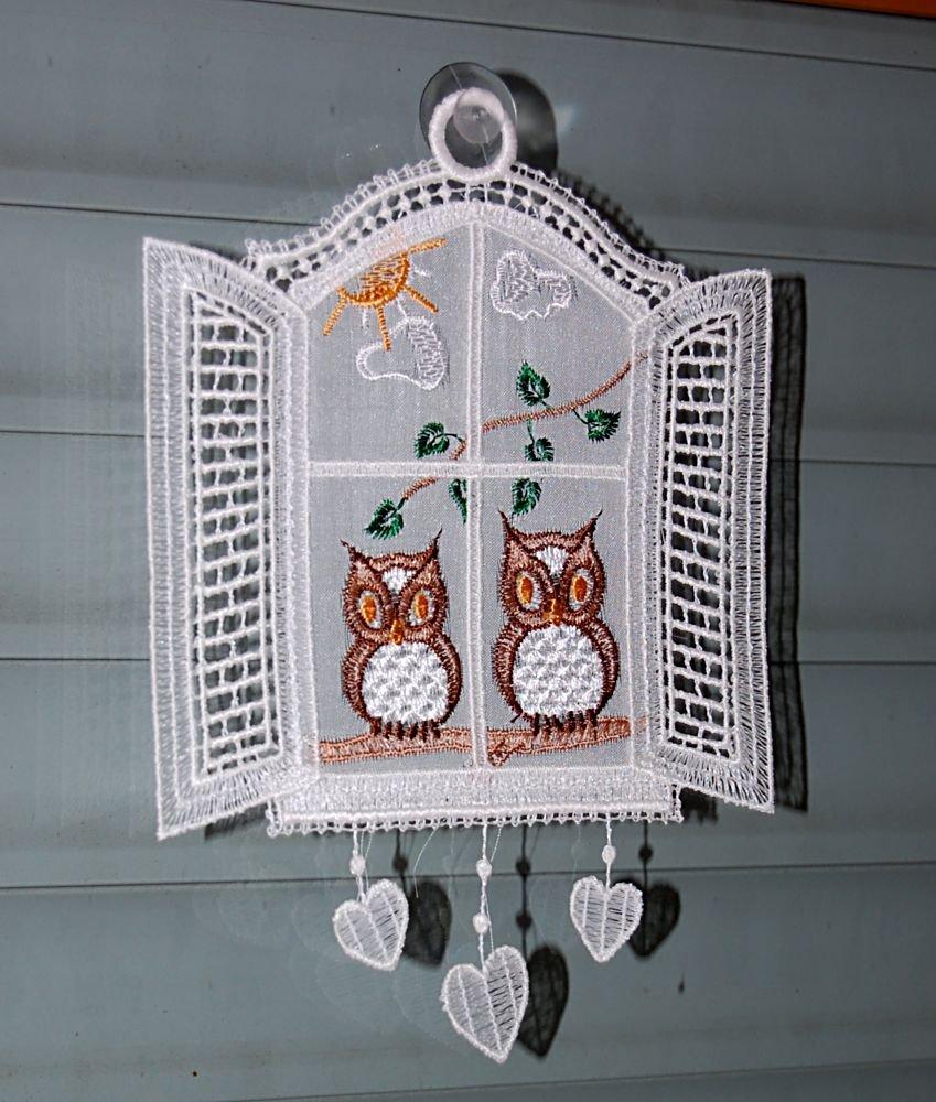 Fensterbild Plauener Spitze Wei/ß Stickerei Eulen am Fenster Made in Germany
