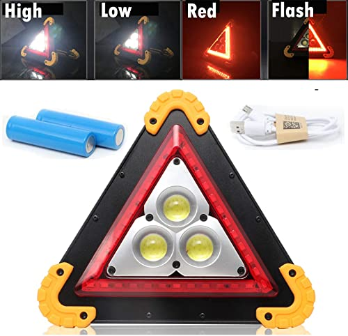 Rechargeable LED Work Light 4 Modes with 3 COB Chips 30W Outdoor Portable Waterproof Floodlight Triangle Emergency Hazard Warning Light USB Rechargeable Power Bank Floodlight For Indoor Outdoor Use