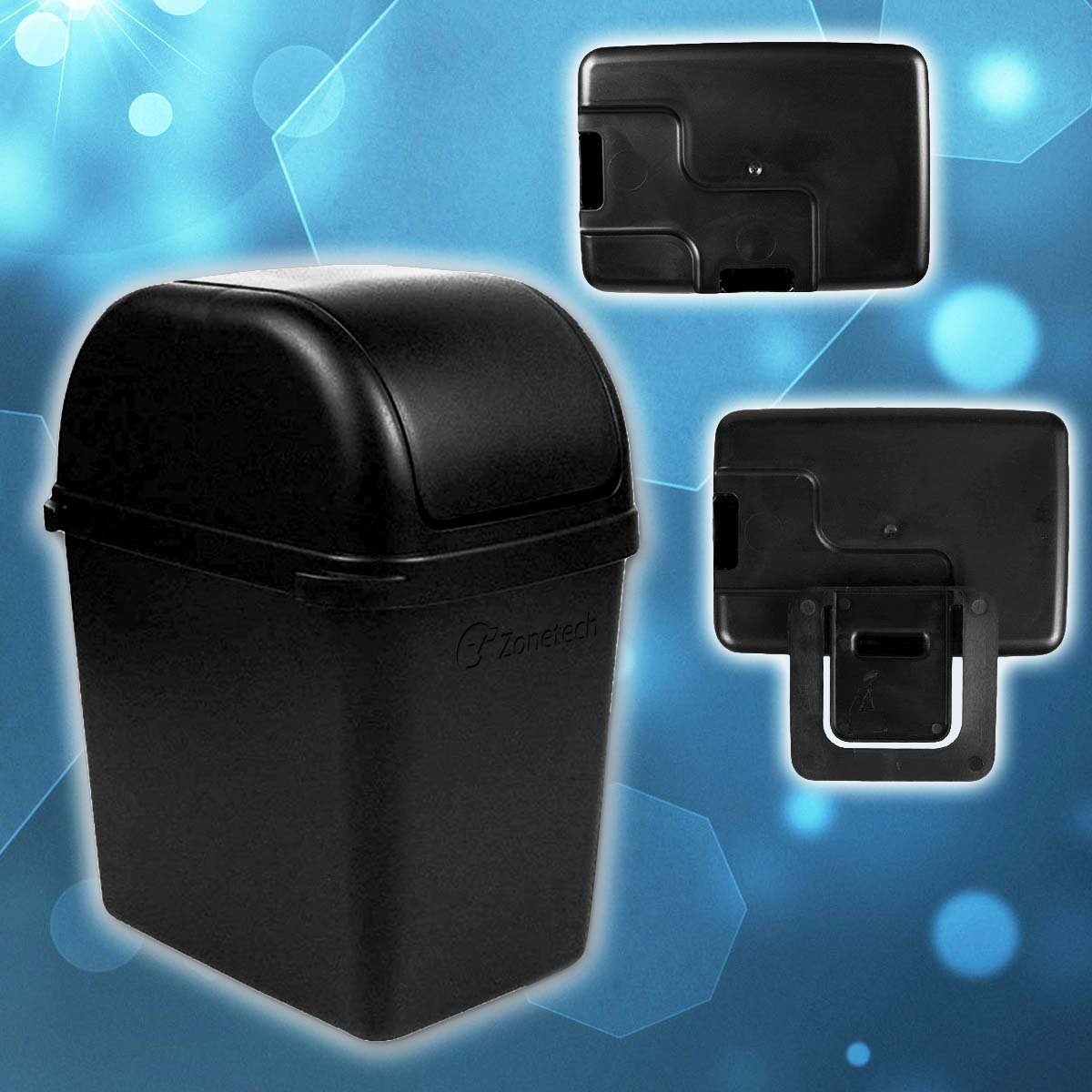Classic Black Premium Quality Black Universal Traveling Portable Car Trash Can Comfort Wheels GC0011 Zone Tech Portable Mini Car Garbage Can with Latch Grip