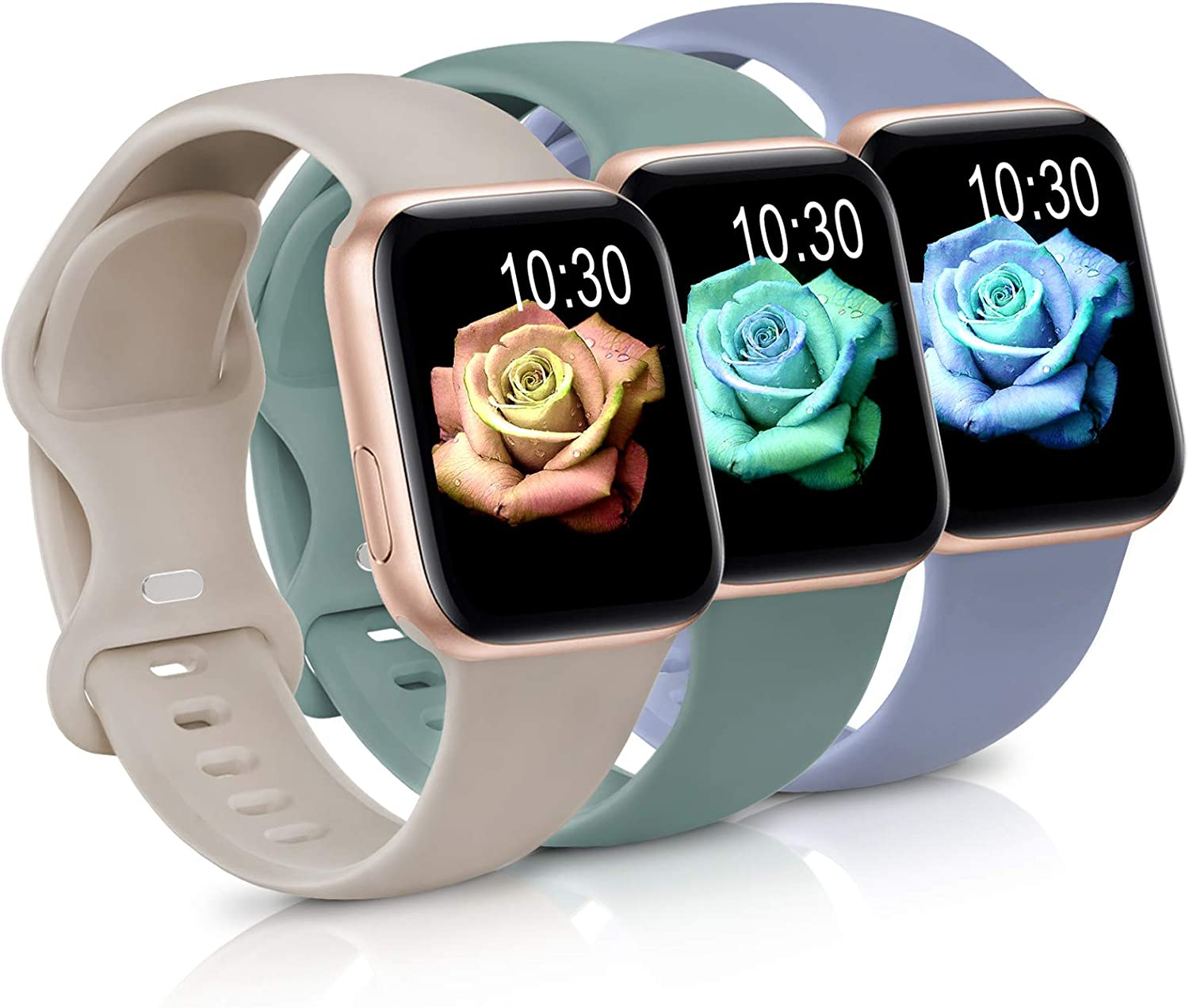 Sport Band Compatible with Apple Watch iWatch Bands 42mm 44mm,Soft Silicone Strap Wristbands for Apple Watch Series 3 6 5 4 2 1 SE Women Men Pack 3,Cool Gray/Cactus/Stone,42/44mm,S/M