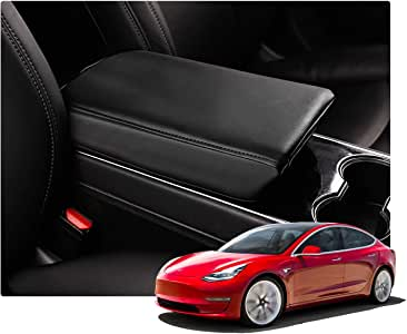 White Puduo Car Armrest Cover Center Console for Tesla Model 3,Armrest Case Protector Console Lid Protective Cover