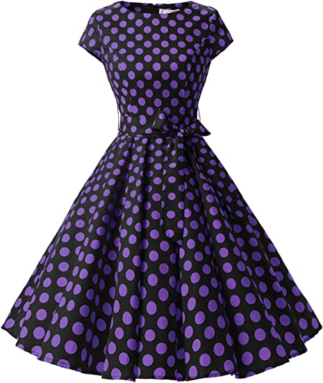 TALLA 3XL. Dressystar Vintage 1950s Polka Dot and Solid Color Prom Dresses Cap-Sleeve Black Purple Dot B 3XL