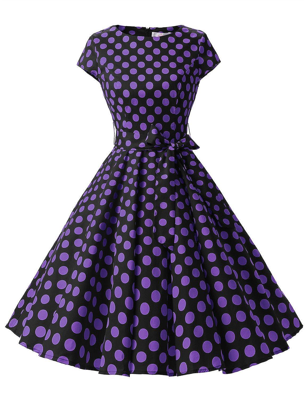 TALLA XS. Dressystar Vestidos Coctel Corto Vintage 50s 60s Manga Corta Rockabilly Elegante Mujer Black Purple Dot B XS