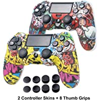 PS4 Controller Skin - Silicone Covers Protector Skin for Sony PS4, PS4 Slim, PS4 Pro 2 Controller Skin with 8 Thumb…