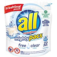 Deals on All Mighty Pacs Laundry Detergent, Free Clear, 22 Count
