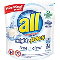 22-Count all Mighty Pacs Laundry Detergent Unscented Pouch (Free Clear for Sensitive Skin)