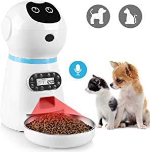 pedy Automatic Dog Feeder, 3.5L Smart Timed Dog Food Dispenser with Stainless Steel Food Bowl, Voice Recording, Dual Power Supply and Accurate Timer Programmable Up to 4 Meals a Day for Cats and Dogs