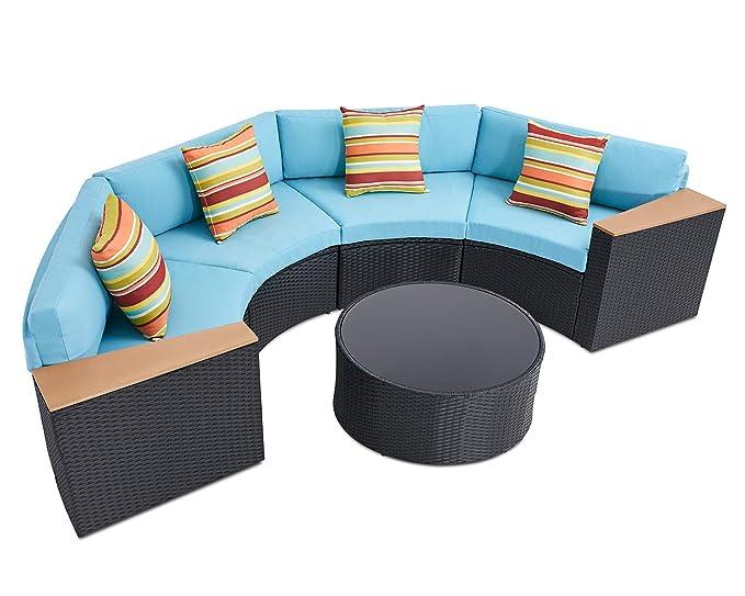 Amazon.com: SOLAURA - Juego de 5 muebles seccionales para ...