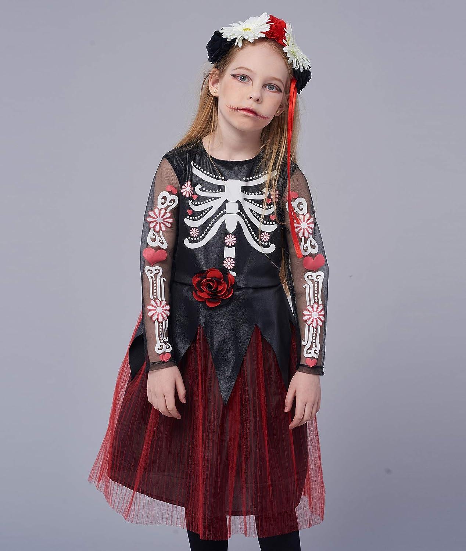 Disfraz de esqueleto de halloween para niña, Dia de los Muertos ...