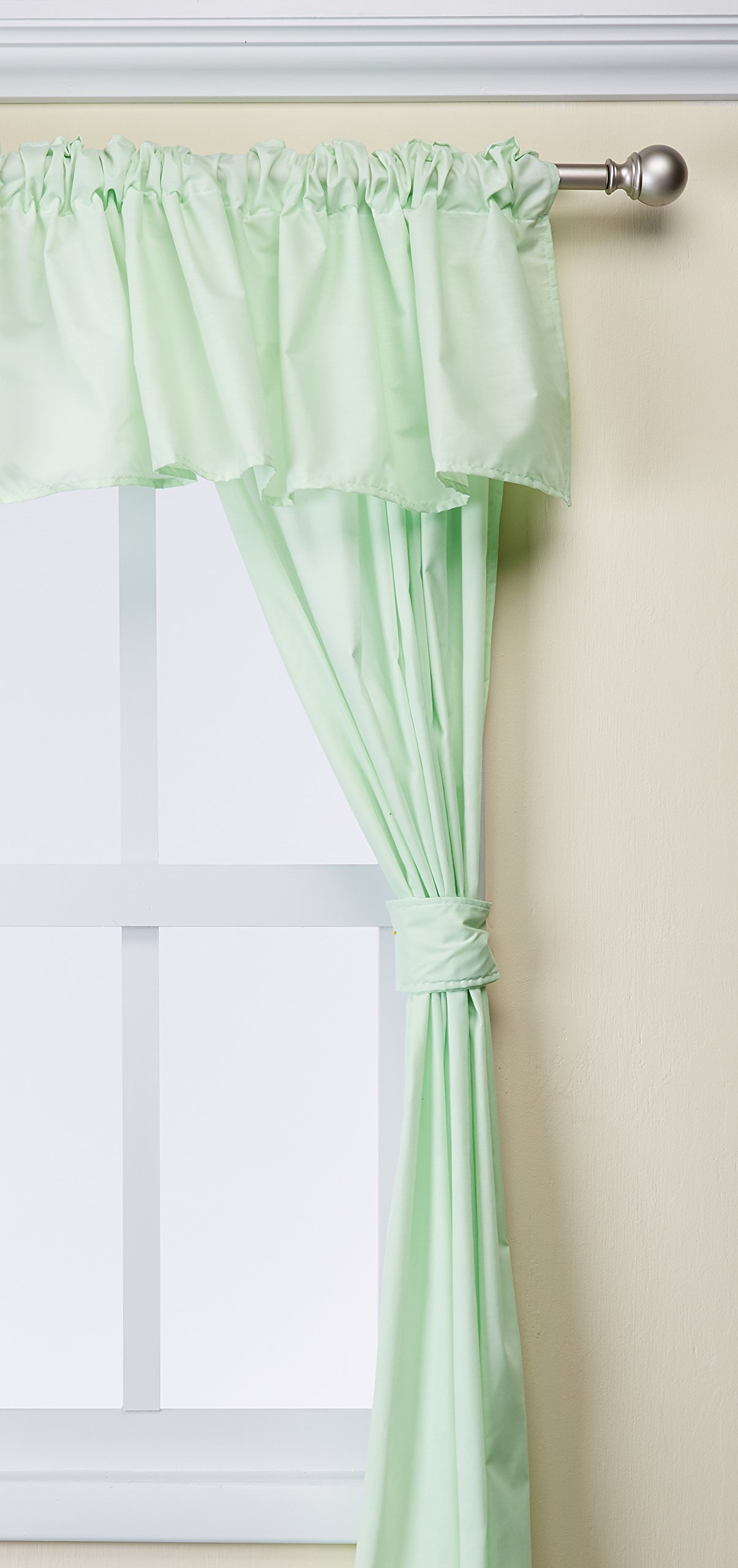 Baby Doll Bedding Solid 5-Piece Window Valance Curtain Set, Mint